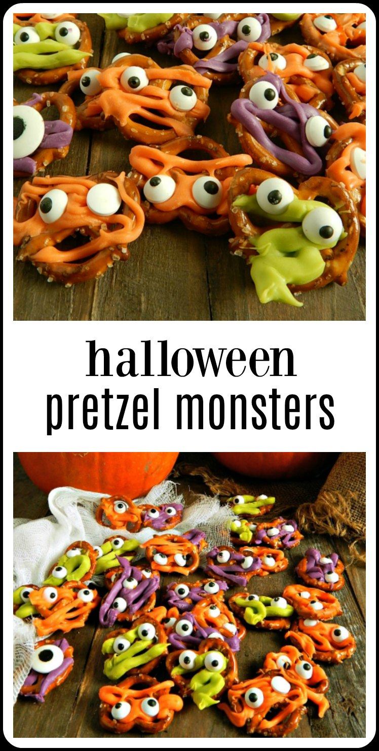Halloween Pretzel Monsters - surprisingly easy, absolutely delish and oh so darling! Who wouldn't want these babies at a party?! #HalloweenPretzelMonsters #PretzelCandyMeltMonsters