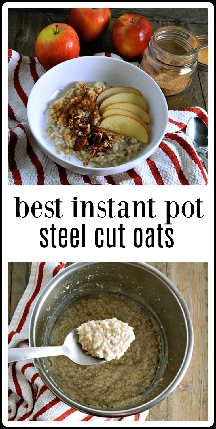 Best Instant Pot Steel Cut Oatmeal is creamy & dreamy & the perfect Set it & Forget it no hassle cooking method. It's a game changer! #InstantPotSteelCutOatmeal #BestInstantPotSteelCutOatmeal