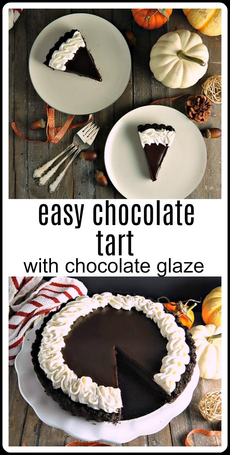 Chocolate Glazed Tart - this easy tart is chocolate on chocolate on chocolate! Seriously luscious! #ChocolateTart