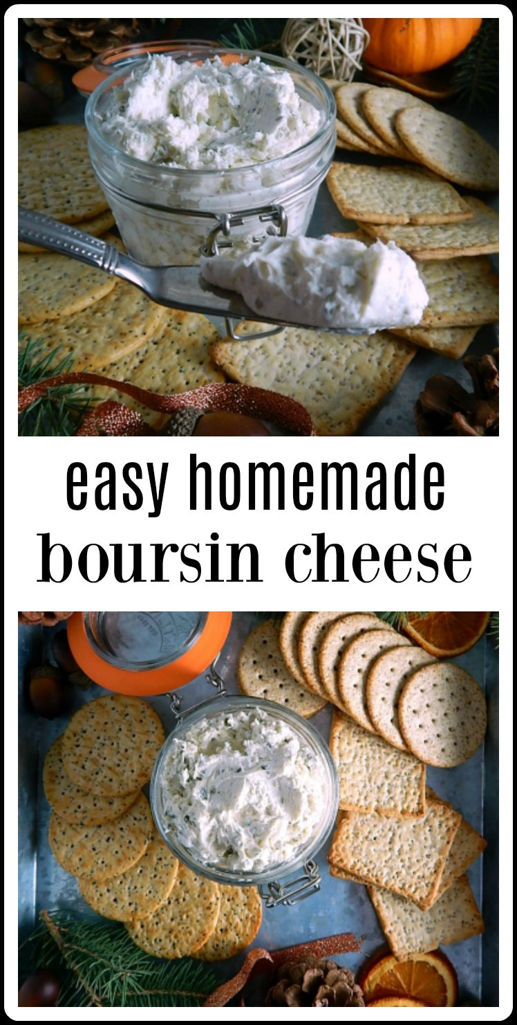 Easy Homemade Boursin Cheese takes minutes to whip up with items you probably have in the fridge! So delish! #BoursinCheese #HomemadeBoursinCheese