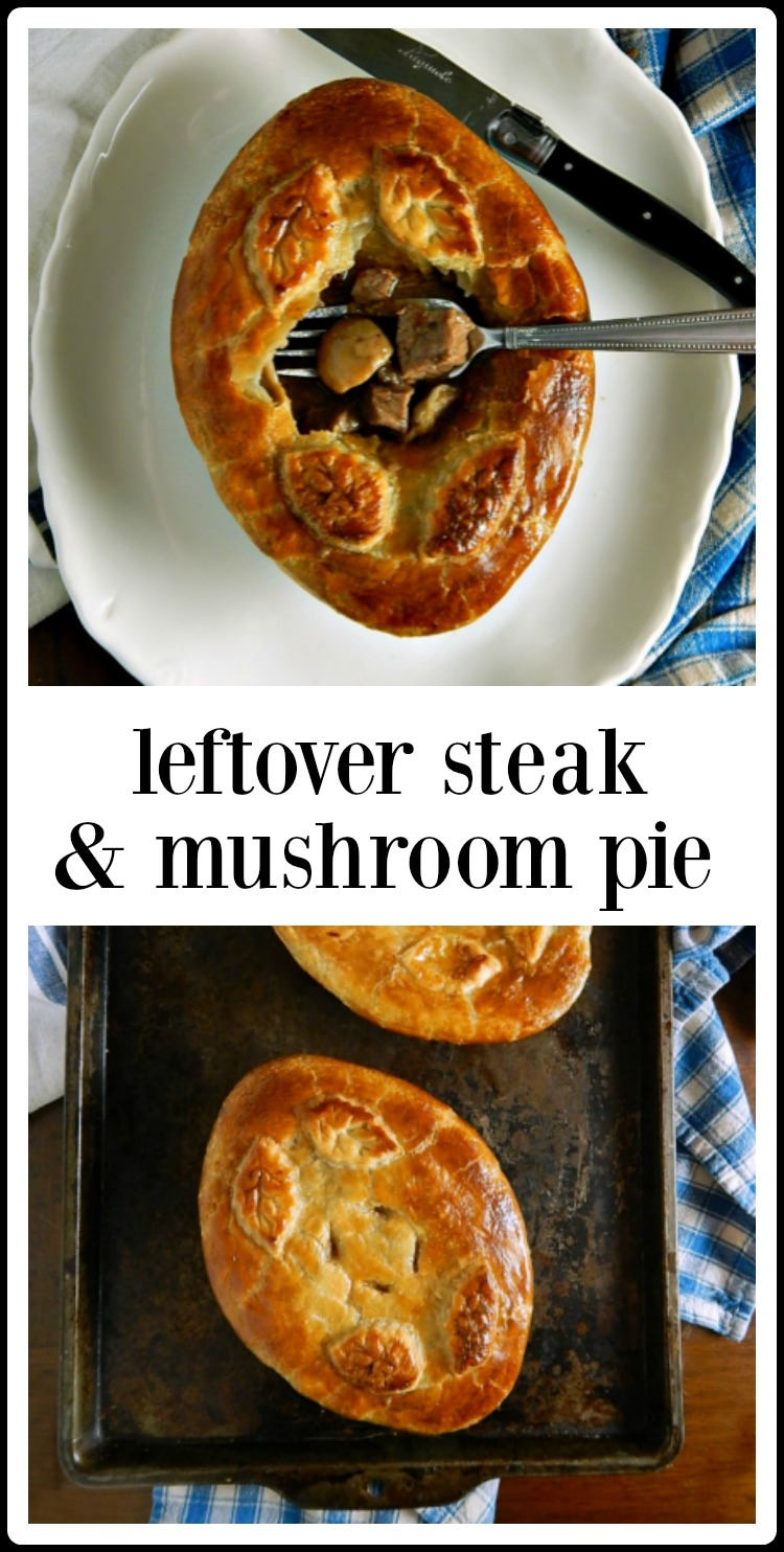 Fast & easy, sometimes leftovers are better than the original meal - and that's the case with Leftover Steak & Mushroom Pies. You'll hope for leftover steak or roast! #SteakMushroomPies #SteakMushroomPotPies #BeefMushroomPies