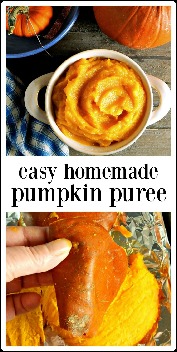 Making Easy Homemade Pumpkin Puree is easy! All it takes is about 15 minutes of hand-on work and time. The flavor is so fresh! #EasyHomemadePumpkinPuree #MakingPumpkinPuree #HomemadePumpkinPuree