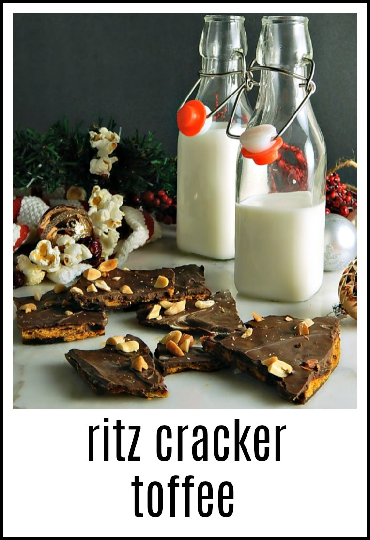 A fabulous treat, this Ritz Cracker Toffee is a blend of salty-sweet deliciousness! Easy to make and can be decorated for the season! #RitzCrackerToffee #CrackerToffee