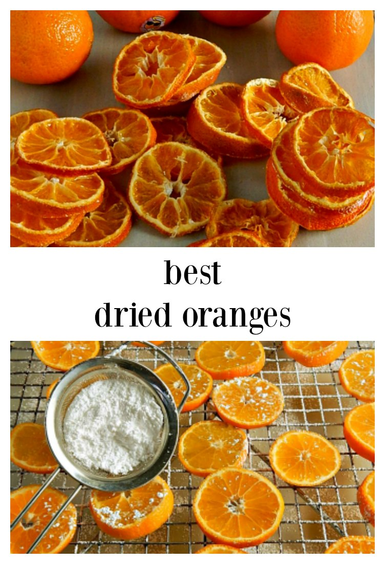 These easy Beautiful Dried Oranges dry a bit faster and look lovely thanks to a bit of sugar. They taste as good as they look. This recipe dries any citrus in about 2 1/2 hours in the oven. Use in mulled wine, cider, potpourri. #DriedOranges #DriedCitrus