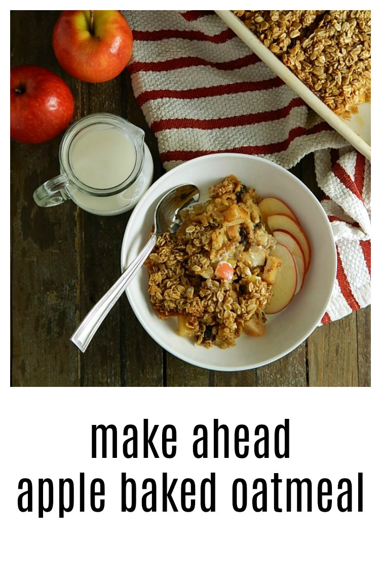 Make-Ahead Apple Baked Oatmeal is a super easy mix the night before and then bake the day of breakfast treat - a family fave! #AppleBakedOatmeal