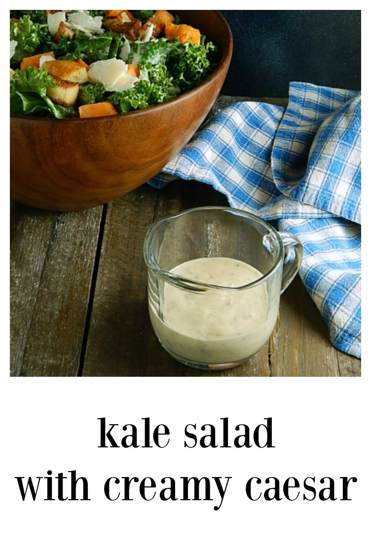 This Kale Salad With Creamy Caesar is a match made in heaven - the dressing, a vegetarian play on Caeser is the perfect thing to tame the kale! #KaleSaladCaesar #CaesarKaleSalad
