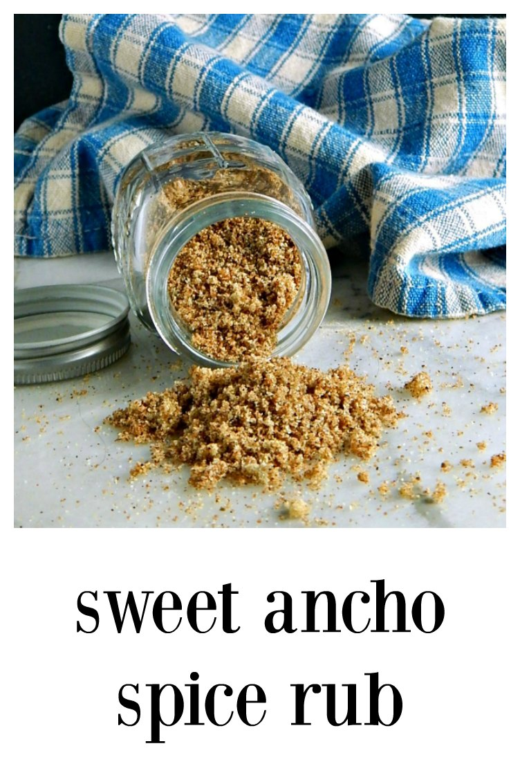 Sweet Ancho Spice Rub has a clean taste and just a little zip, You'll love the way it caramelizes on ribs or pork shoulder. #SweetAnchoSpiceRub #RibRub