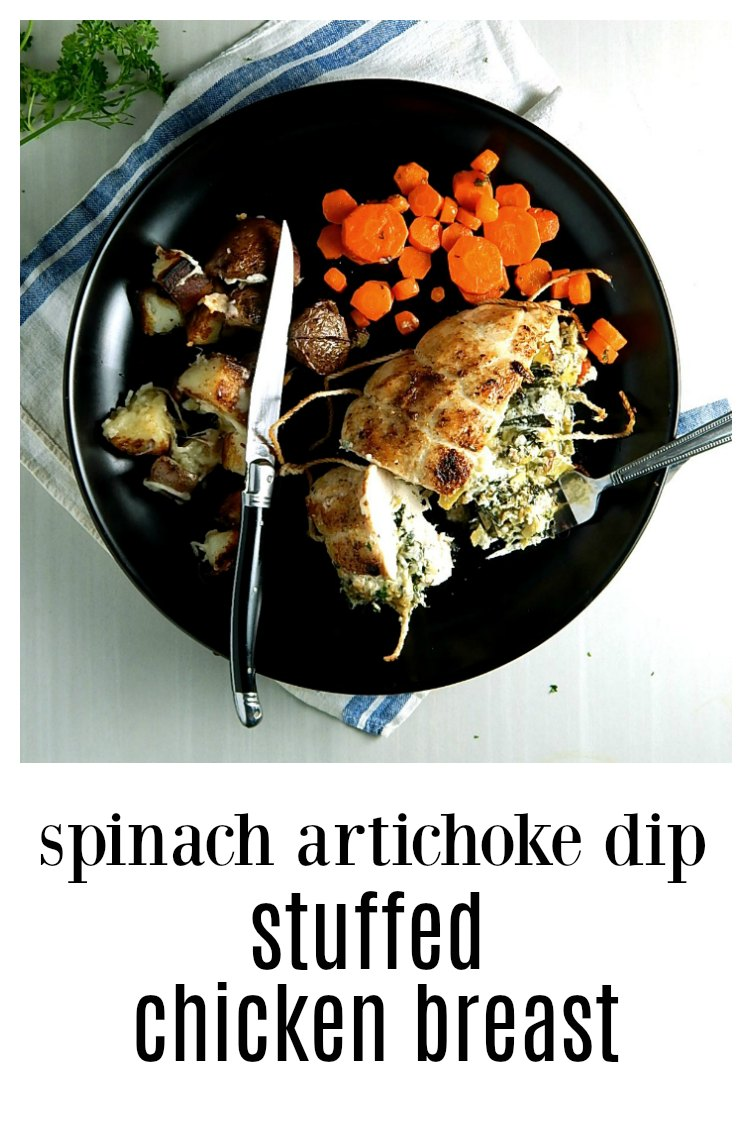 Spinach Artichoke Dip Stuffed Chicken Breasts - easy, elegant and fast. Perfect for a weeknight or for company. #SpinachArtichokeDipStuffedChickenBreast #Spinach DipChicken #ArtichokeDipChicken #StuffedChicken