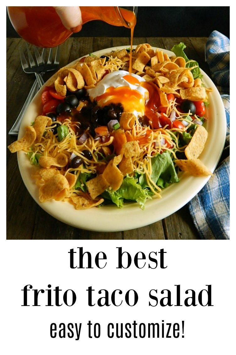Make this Frito Taco Salad as shown for the fam or layer for a party or you might want to customize to your taste! You'll want this all summer long! #TacoSalad #FritoTacoSalad