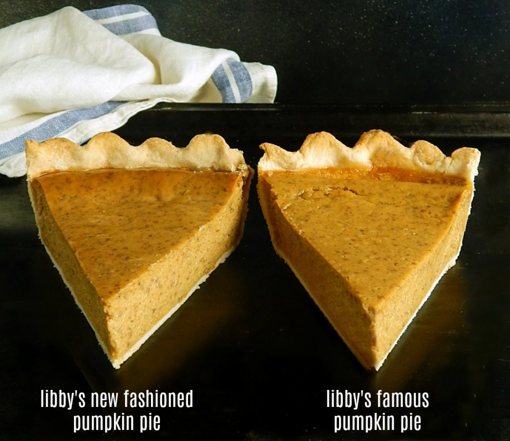 Side by Side Comparison of Libbys New Fashioned Pumpkin Pie & Libby's Famous Pumpkin Pie