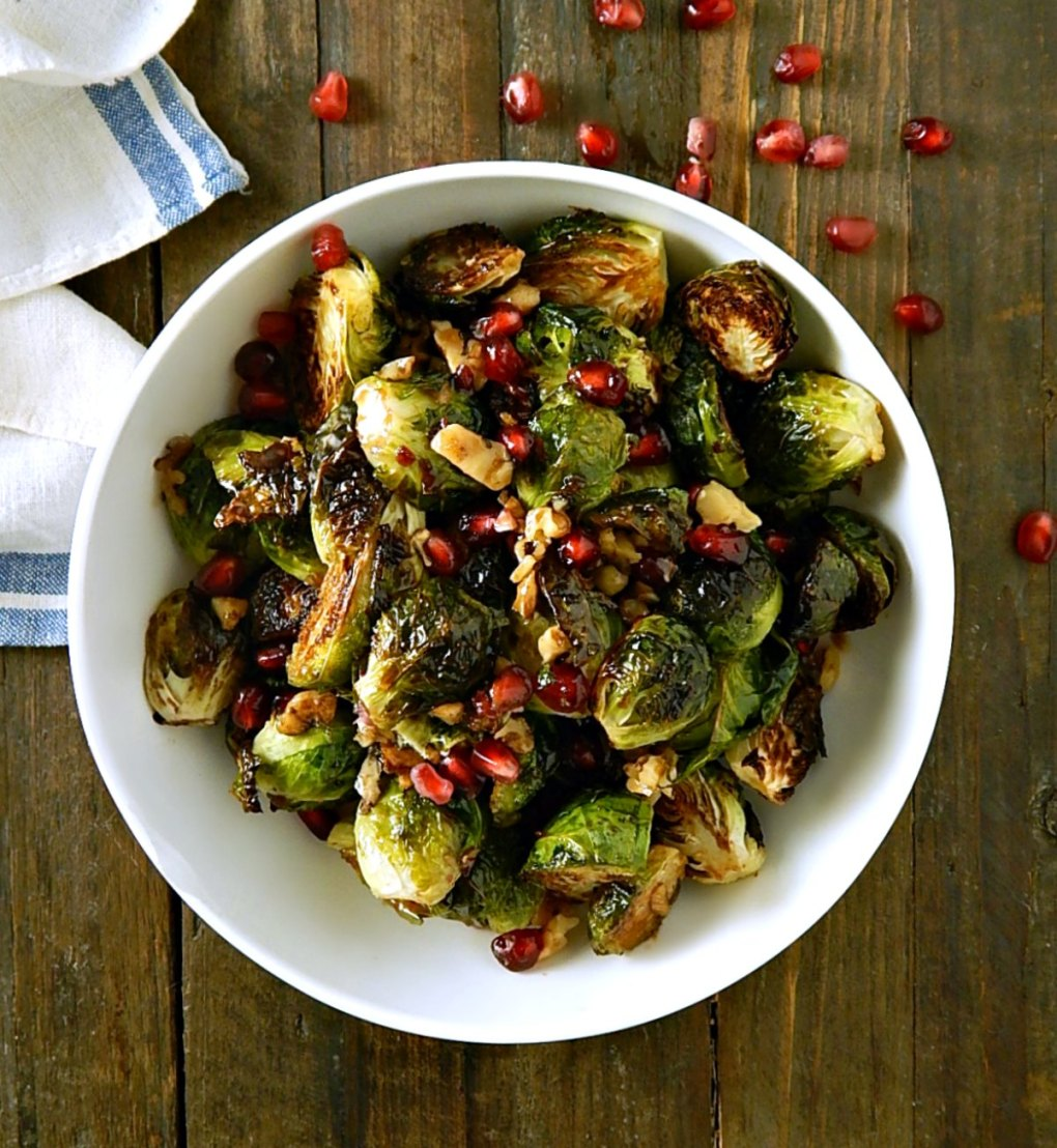 Roasted Brussels with Pomegranate & Walnuts