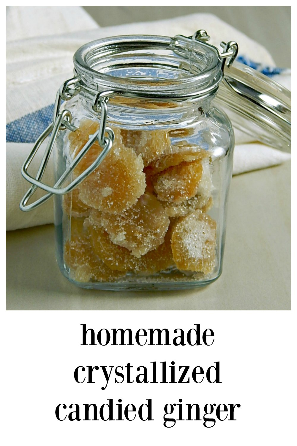 Homemade Crystallized Candied Ginger is so easy and blows away any commercial product! Take the plunge and just make it. No thermometer needed for this easy recipe and all the hints and helps explained. Perfect for gifts. Hint: Dip half in dark chocolate!! #CandiedGinger #HomemadeCandiedGinger #HomemadeCrystallizedGinger
