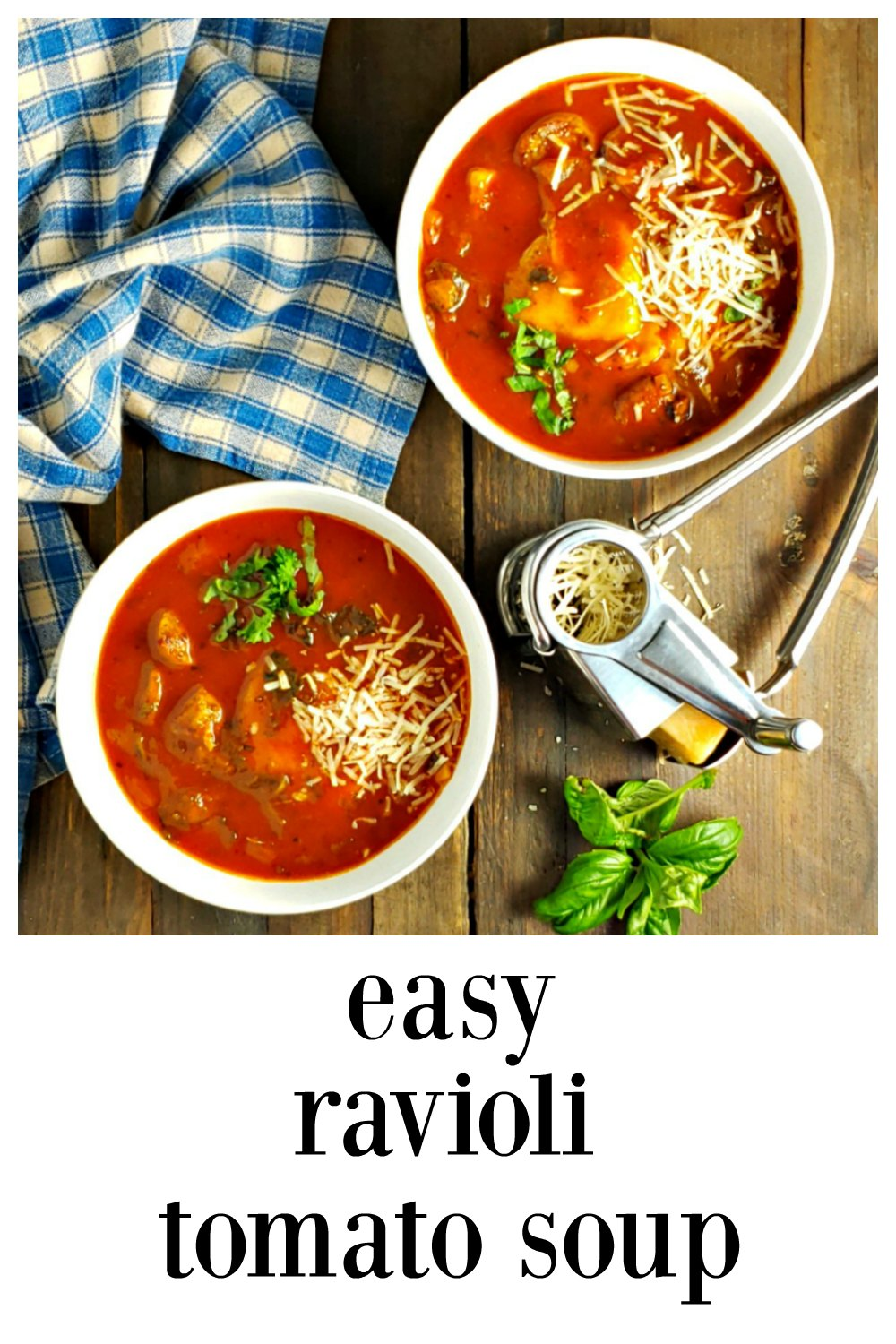 Easy Tomato Ravioli Soup is fast & easy but tastes like it simmered all afternoon. Made from mostly pantry ingredients, it might be your new comfort food all winter long. #RavioliSoup #EasyRavioliSoup #ItalianSoup
