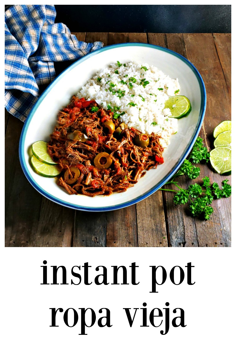 Instant Pot Ropa Vieja will give you all the luscious shreds of beef swimming in a flavorful sauce as a standard recipe in a fraction of the time! So easy, so delish and def great for family, company or Meal Prep. I have a slow cooker version on my site, too. #RopaVieja #InstantPotRopaVieja #InstantPotRecipes #CubanRecipes #MealPrep