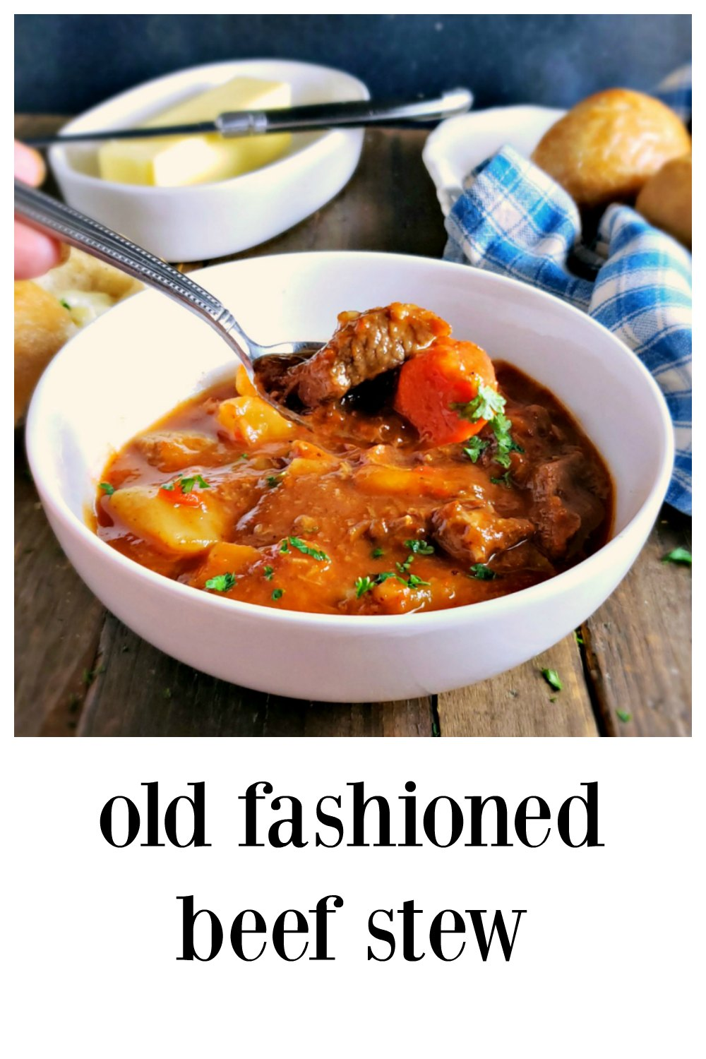 This is a truly Old Fashioned Beef Stew, sometimes called Five Hour Stew. It's low and slow old fashioned cooking. It's like coming home! Simple flavors, no effort to make! #ClassicBeefStew #OldFashionedBeefStew #FiveHourStew #SimpleBeefStew #BeefStew
