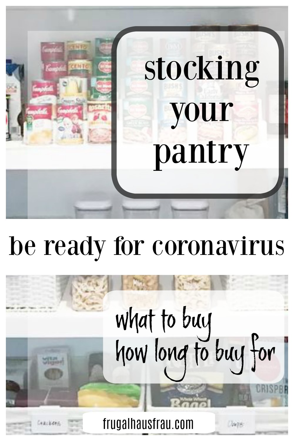 Take charge of your pantry, fridge & freezer while Stocking Up For the Corona Virus can be do-able! It's time to get going if you haven't yet. #ShopForCoronavirus #GetReadyForCoronavirus #StockPantryCoronaVirus #WhatToBuyCoronavirus