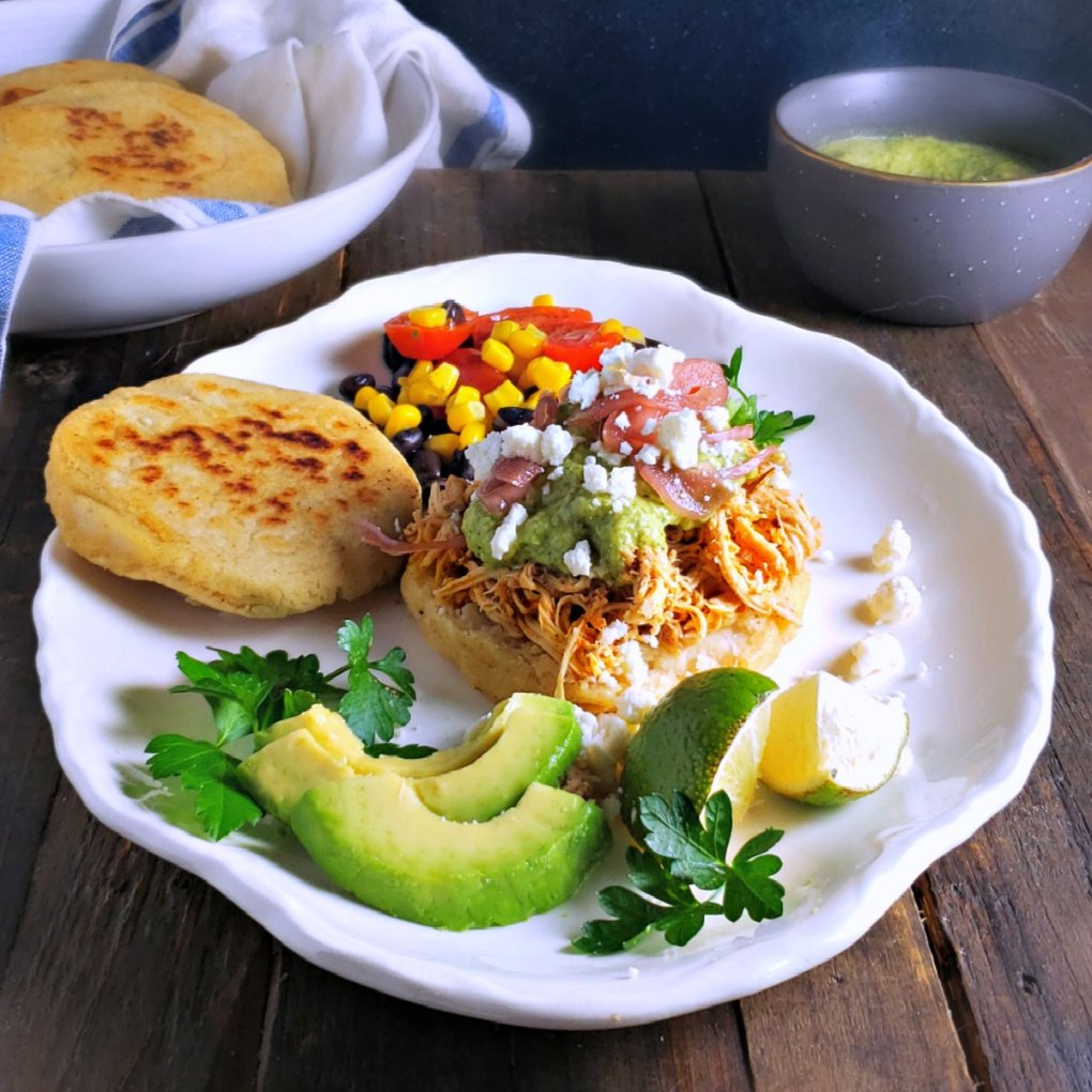 Shredded Chicken (Pollo Mechado) Arepas