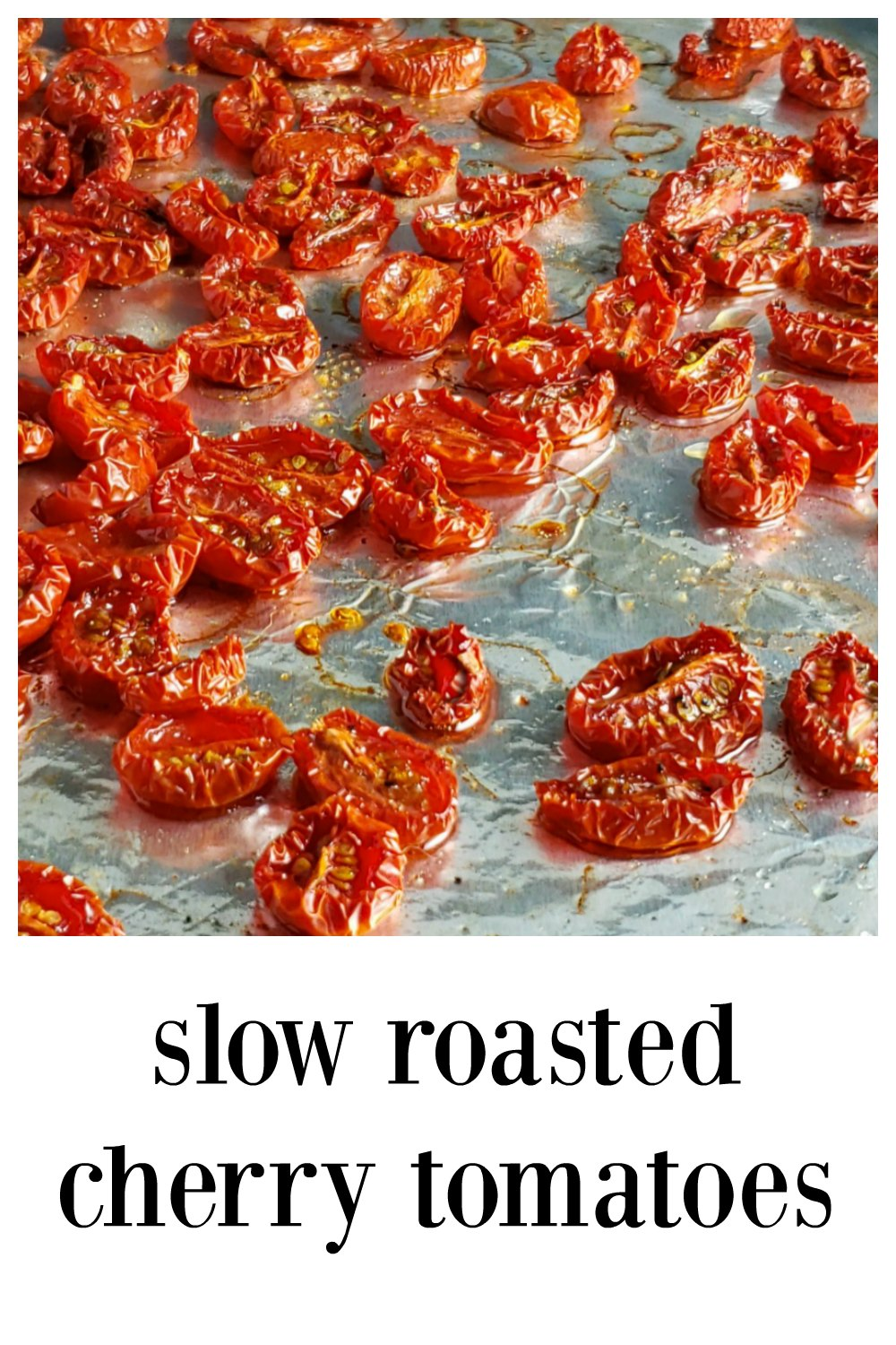 Slow Roasted Cherry Tomatoes are addictive! These little flavor bombs are addictive so you'll need to make extra for recipes coz you'll want to snack on them! Luckily they're super easy and so much faster to make than their larger counterparts! Advice on cutting and seasoning. #SlowRoastedCherryTomatoes #CherryTomatoes #Tomatoes