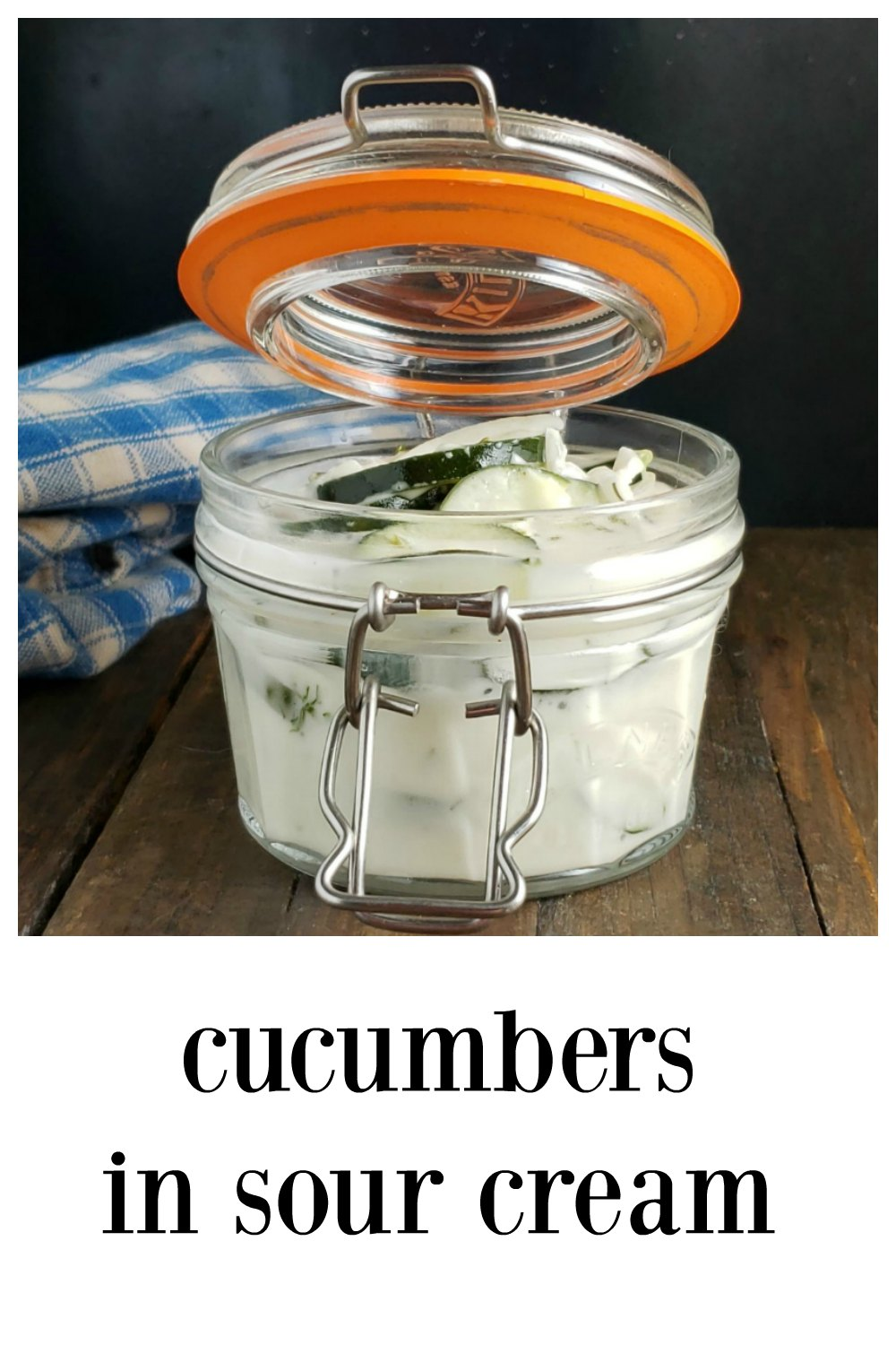 Cucumber Sour Cream Salad is a classic, just like Grandma made. Cool, creamy and delish it's the perfect way to take advantage of summer's bounty! #CucumberSalad #CucumberSourCreamSalad #GermanRecipes #CucumberRecipe