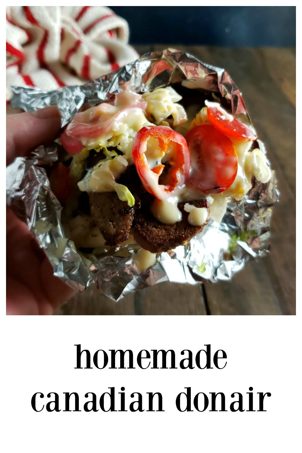 Homemade Canadian Donair - don't confuse this spicier pita type sandwich with a Gyro! It may be a cousin but is in a class by itself. That sauce makes it! You'll love the easy method for making professional tasting meat at home! #HomemadeDonair #CanadianDonair #HomemadeCanadianDonair #HalifaxDonairRecipe #Gyro