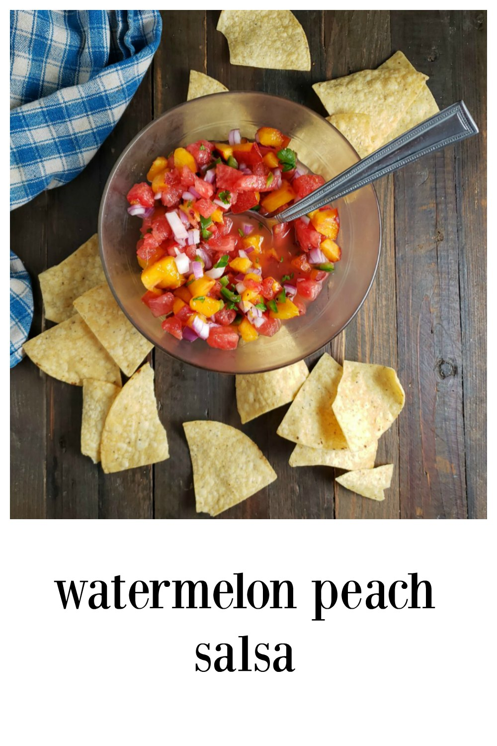 Watermelon Peach Salsa is fresh, tangy, bright. Use with any spicy fish or chicken, great on street tacos, salmon, jerk chicken! #WatermelonPeachSalsa #Salsa #WatermelonSalsa