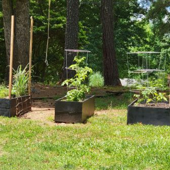planter boxes from salvaged wood and stuff found in yard