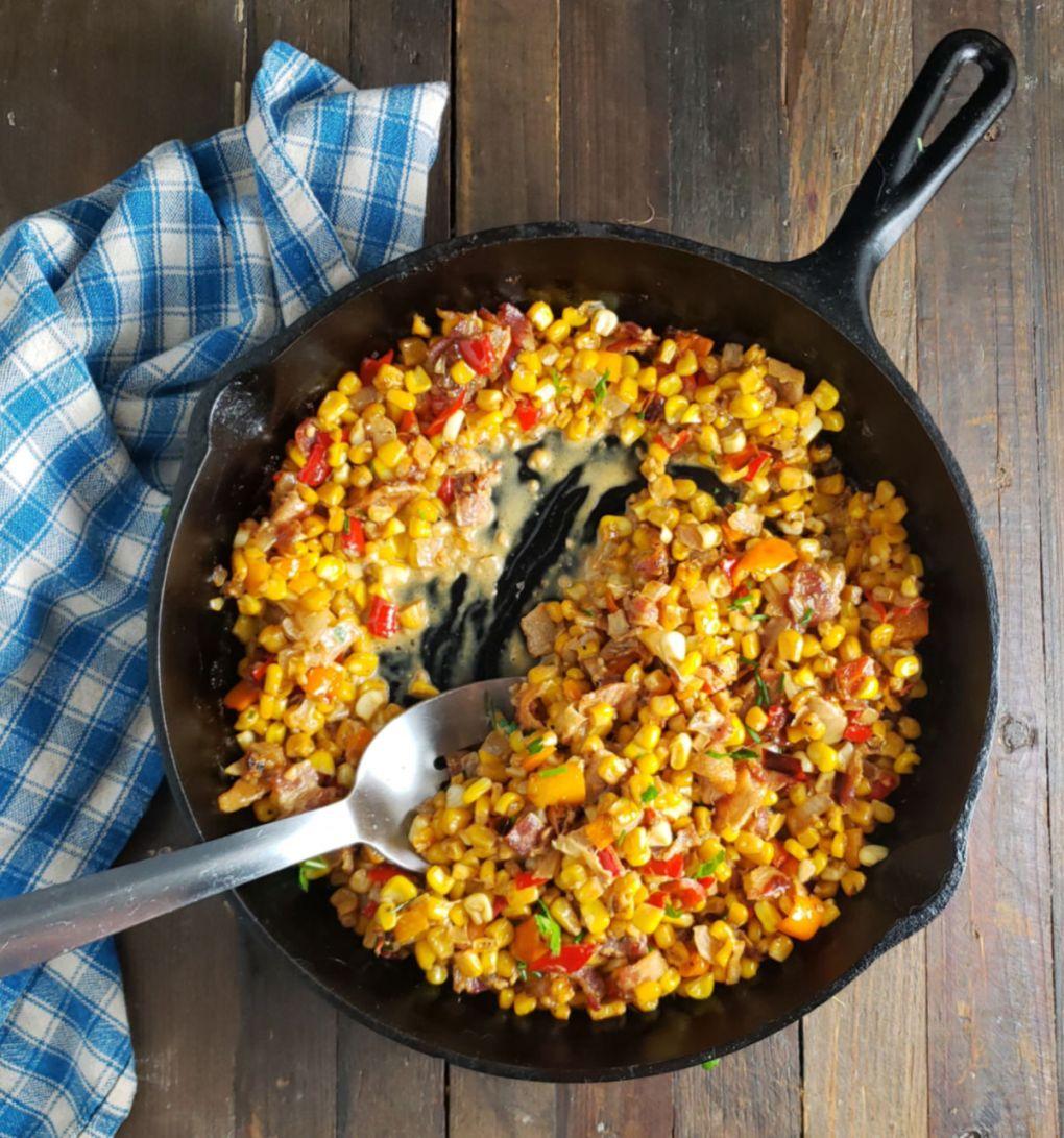 Quick Corn & Bell Pepper Maque Choux