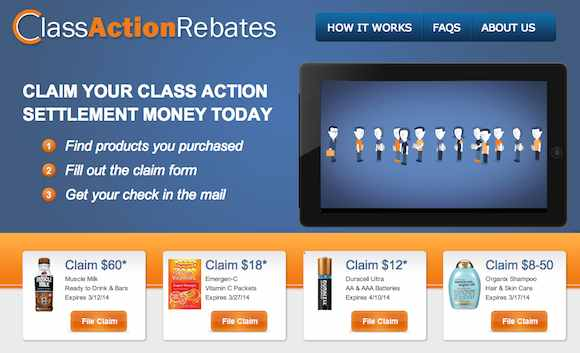 Class Action Lawsuit Rebates Screenshot