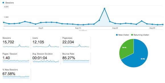 Google Analytics Screenshot of Stats