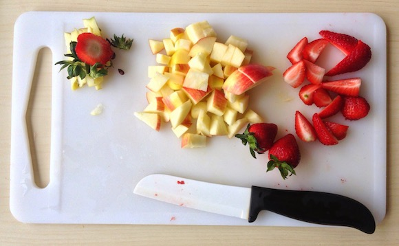 fruits on cutting board