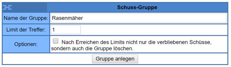 eBay Snip Schuss-Gruppe anlegen