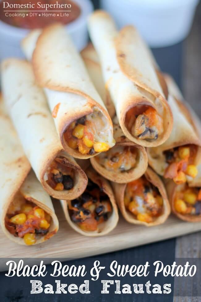 Black Bean and Sweet Potato Flautas by Domestic Superhero