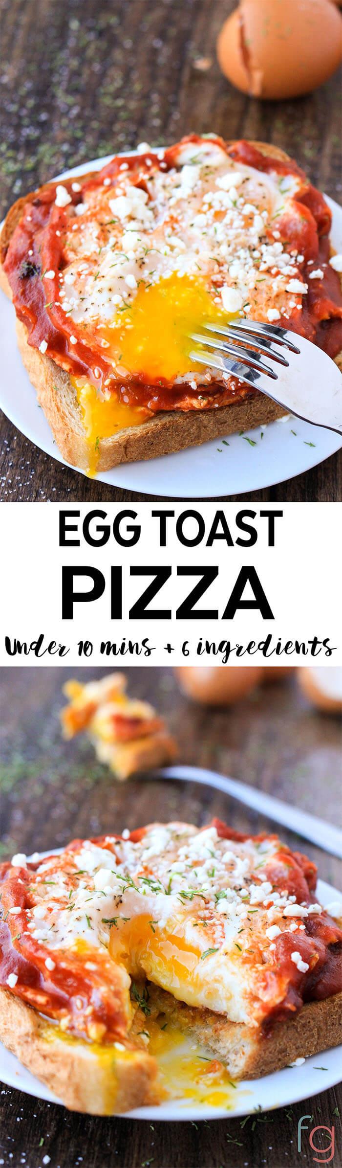 This egg toast pizza is such an easy and quick breakfast idea. Ready in under ten minutes!