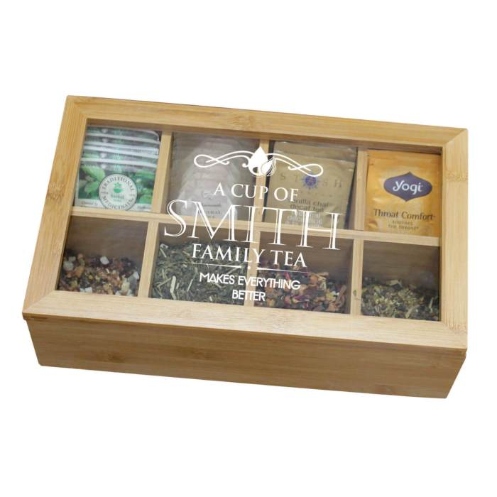 This Engraved Tea Chest from My Personal Memories is a pretty and functional way to organize your tea collection.