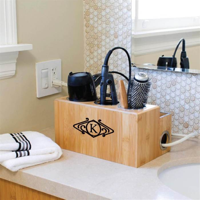 Keep your hair styling tools organized in this Monogrammed Hair Styling Station from City By The Bay Custom.