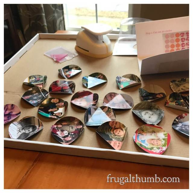 Laying out folded circles in preparation for ornament assembly