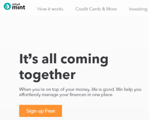 sign up screen on Mint.com