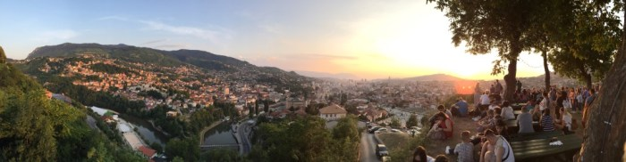 Sarajevo at Dusk.  Taken from the Yellow Fort on the last night of Ramadan.