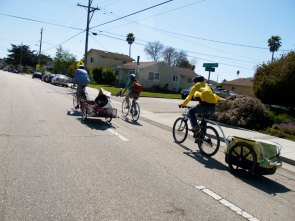 This event we had half the group as a bicycle crew, including several trailers hauling fruit and equipment.