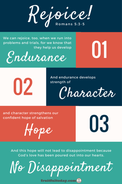 "Graphick of Romans 5:3-5, ""We can rejoice, too, when we run into problems and trials, for we know that they help us develop endurance. 4 And endurance develops strength of character, and character strengthens our confident hope of salvation."""