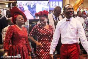 Dr Becky Enenche with Dr Paul Enenche and Deborah Enenche