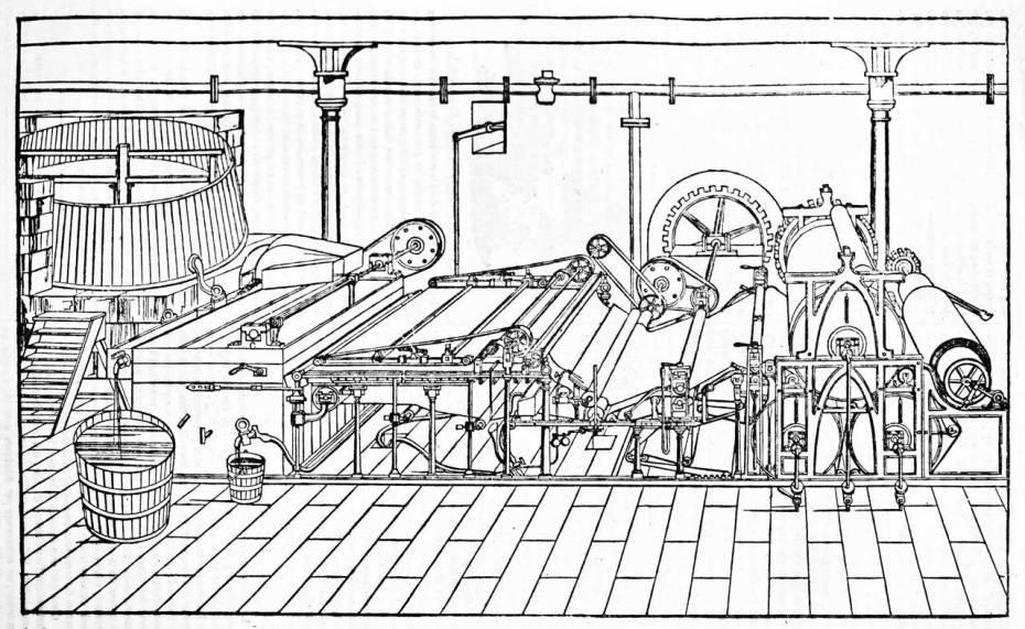 Paper Machine Illustration in Dark Pen Black and White