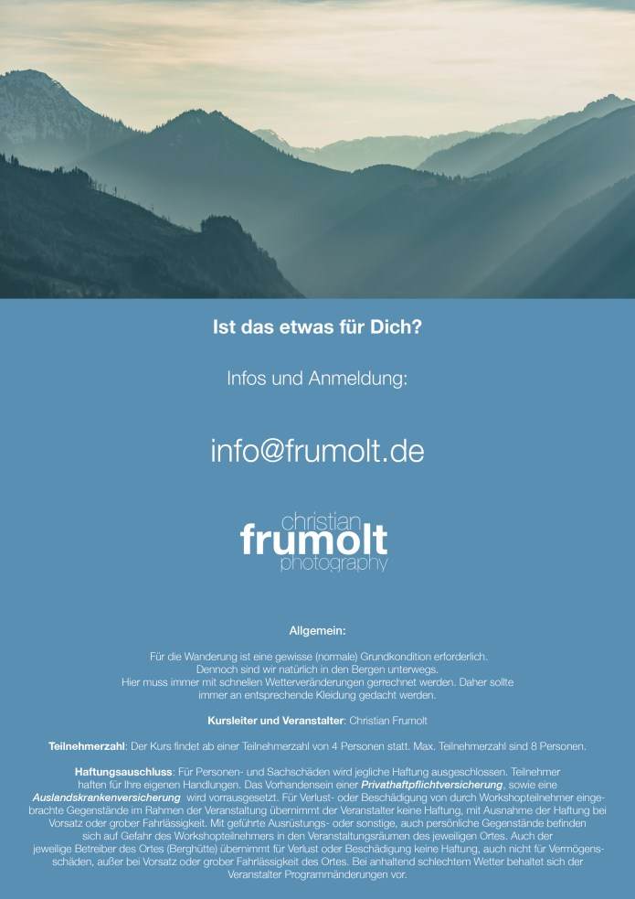 Flyer Fotoworkshop in Tirol 11. bis 12. Juli 20165