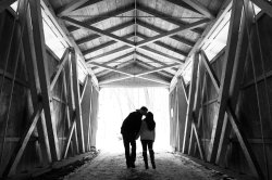 engagement portraits in covered bridge at McConnell's Mill State Park
