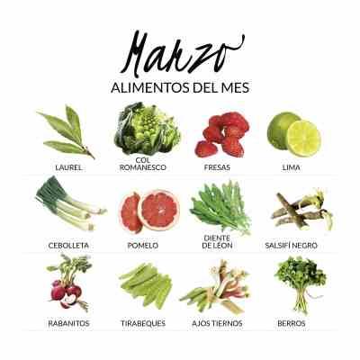 frutas y verduras en marzo