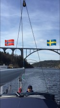 Sailing under the bridges, the boarder between Norway and Sweden.