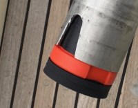 The support in place at the bottom at the wind generator tube