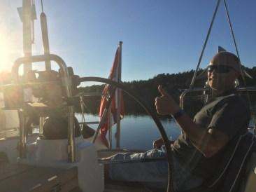 Enjoying life at sea in sunset