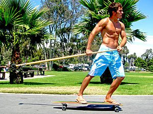 English: Longboarding with the Kahuna Big Stick