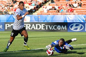 Austrian Forward Rubin Okotie tries to score o...